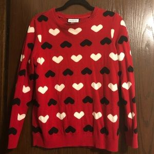 Charter Club Hearts Sweater, Red